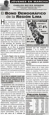 EL BONO DEMOGRAFICO DE LA REGION LIMA